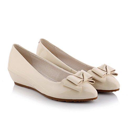 Adee Mädchen Schleifen griffigen unten Einschubtasche Patent Leder Pumpen Schuhe Aprikose