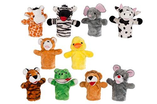 Kasperpuppen Tiere Kuscheltier Kaspertheaterpuppen Plüsch Puppe Kasperlepuppen ca. 25 cm Handspiel Puppen (Tier-puppen)