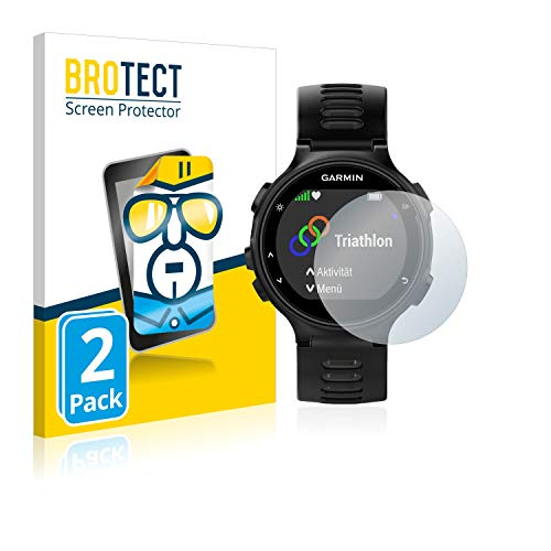BROTECT Schutzfolie kompatibel mit Garmin Forerunner 735XT [2er Pack] - kristall-klare Displayschutz-Folie, Anti-Fingerprint