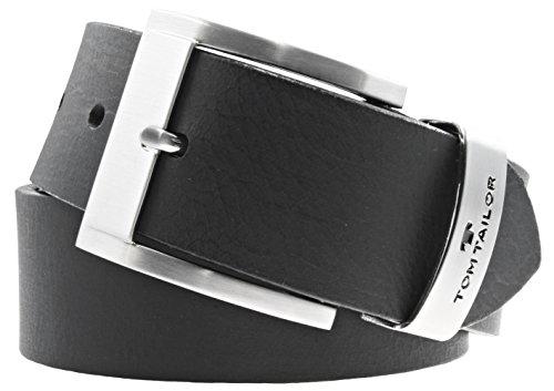 TOM TAILOR Herren Gürtel Herrengürtel Leder Gürtel Ledergürtel 40 mm schwarz, Länge:90