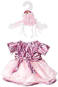 Construya su Bears Armario 15-Inch Ropa Fit Construye Oso Vestido metálico y Flores, Color Rosa