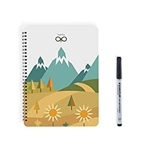 Inkinite Reusable Notebook with Staedtler Non Permanent Marker - App Compatiable (Spring)