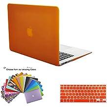 Funda para MacBook Air 13,TECOOL® 2 en 1 con Case Carcasa de Plastico duro de snap - on Naranja EE.UU. versión teclado cubierta, Tranparent EU versión teclado cubierta y TECOOL® ratón almohadilla para MacBook Air 13 pulgadas Modelo: A1466 y A1369