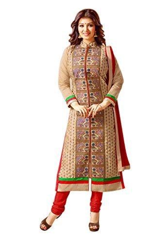 Styles Closet Women's Cotton Semi-Stitched Salwar Suit ( Bnd-5088_0,Beige,Free Size)