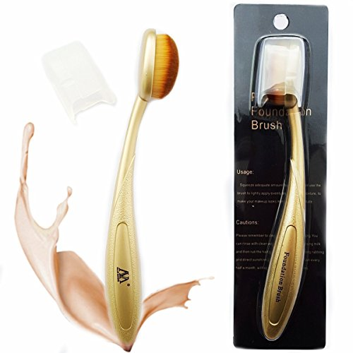 VALUE MAKERS Oval Blush Poudre pour le visage Brosse à dents Curve Foundation Brush(Gold)