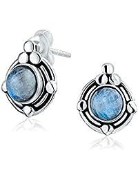 Bling Jewelry Round Rainbow Moonstone June Birthstone Stud earrings 925 Sterling Silver 11mm