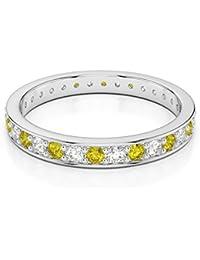 18KT oro blanco 0,26ct certificado g-H/VS corte redondo amarillo Sapphire y Diamond Full Eternity anillo agdr-1079