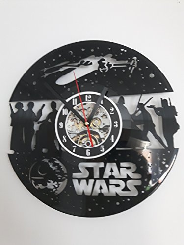 Heart&Home - Retro Music Record Vinyl Wall Clock Star Wars Ship and Character Design, Beautiful Gift for the whole family, Great addition to any room in your home.