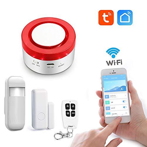 aixi-SHS Smart Wi-Fi 433Mhz Strobe Sirenen-Sicherheits-Alarmsystem Tür PIR Motion Sensor Fernbedienung - Zeitgetimt Arm/Home Arm/Entwaffnen Sie Sich in Alarmierung - TuyaSmart/Smart Life APP Control (Sicherheit Motion Sensor Alarm)