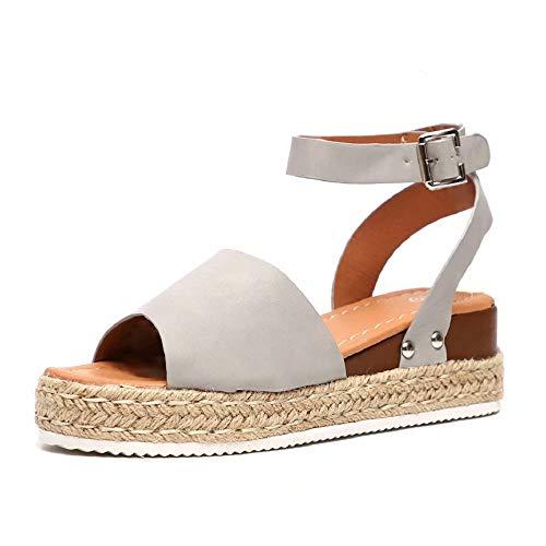 Sandalias Mujer Plataformas Verano Cuña Piel 5 CM Tacon Punta Abierta Plana Tobillo Zapato De Playa Moda Fiesta Gris 43