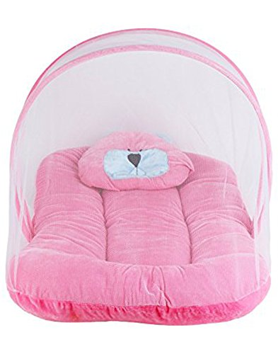 My Newborn Baby Bdding Set With Folding Protective Velvet Mattress, Mosquito Net & Pillow Cum Sleeping Bag Pink