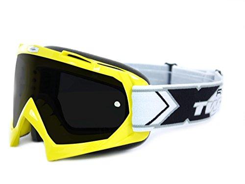 TWO-X Race Crossbrille gelb Glas getönt schwarz grau MX Brille Motocross Enduro Motorradbrille Anti Scratch MX Schutzbrille