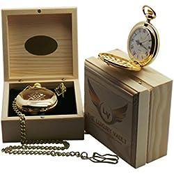 Gold Freemason Pocket Watch and Tie Bar Clip Freemasonary Luxury Masonic Gift Set in Case Full Hunter with Wooden Box