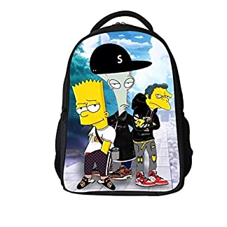 Waniii Mochilas Escolares Juveniles,Unisex Lona Casual Bookbag Anime Cartoon 3D Estampado Viaje Mochila Ordenador Laptop Backpack Ligero16 Pulgada The Simpsons