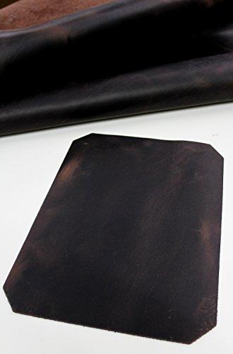 Förster-Fellnest Schönes, sehr speziell zugerichtetes Rindleder, Fettleder, Nubukleder mit Pull Up Effekt - Schönes braun bis Dunkelbraun - Lederstück, Dickleder ca. 24x33 cm -