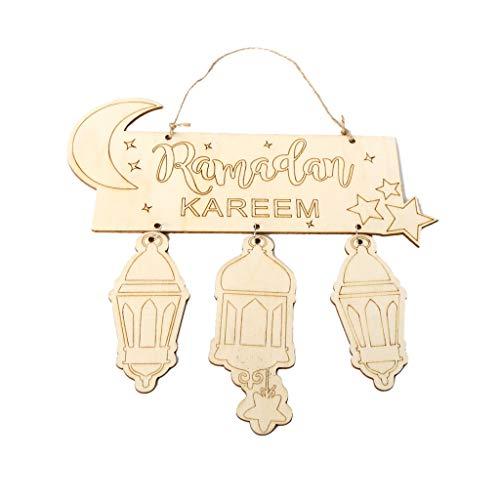 Queenhairs Eid Mubarak muslimischen Islam Ramadan Dekorationen hängende Laterne Anhänger Plaque Zeichen Ornament DIY Wall Decor Party Supplies