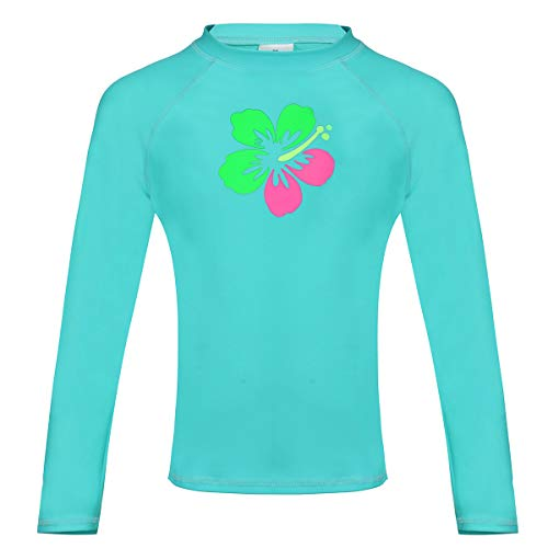 DUSISHIDAN Kinder Rashguard Bademode UV-Schutz T-Shirt Lange Ärmel Rash Guard Top Badeanzug L-Grün (nur Oberteile) -