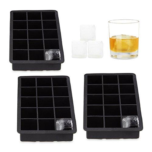 3x Eiswürfelform Silikon, für 3,5 cm Eiswürfel, BPA-frei, für Cocktails, H x B x T: ca. 3,5 x 19,5 x 12,5 cm, schwarz