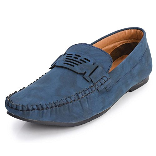 Foot n Style Men's Blue Synthetic Leather Casual Loafers  available at amazon for Rs.494