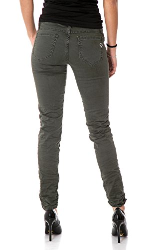 PLEASE - P95 4u1 jeans pantaloni donna slim Verde scuro