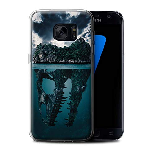 eSwish Gel TPU Hülle/Case für Samsung Galaxy S7/G930 / Tropische Insel/T-Rex Muster/Dinosaurier Jurassic Earth Kollektion T-rex-mobile Handy