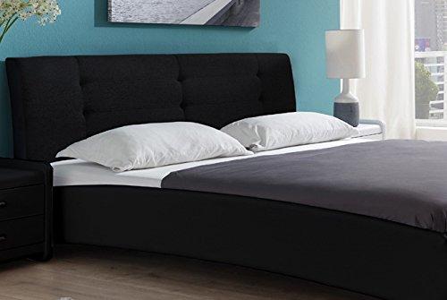 SAM Polsterbett 120×200 cm Bastia, schwarz, mit gepolstertem hohen Kopfteil, Chrom-Füße, als Wasserbett verwendbar