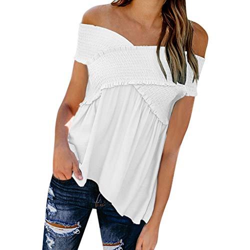 Zegeey Damen T-Shirt Kurzarm Schulterfrei Einfarbig Sommer Lose Geraffte Bluse Tops Oberteil Pullover Tunika Shirts (Weiß,EU-34/CN-S