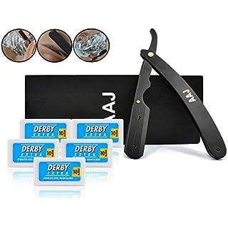 AAJ Premium Rasiermesser Set für Herren und Damen inklusive 100 Wechselklingen - Präzises Klapprasiermesser mit Anleitung + Etui - Bartmesser