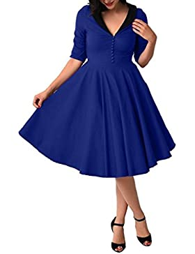 GAOLIM Puff Mujer Falda Profunda V Collar Camisa Vestido De Cintura, Xl, Azul