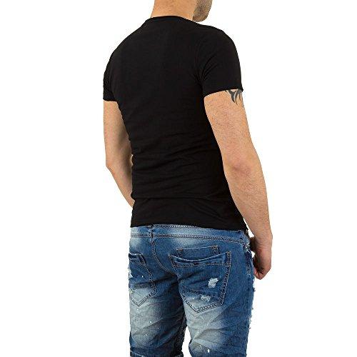 Gemustertes T-Shirt Für Herren bei Ital-Design Schwarz