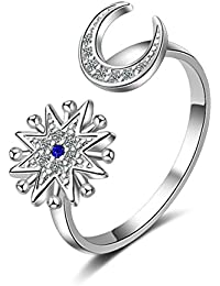 0c673c6a25 Boowohl Partnerschaftsringe Damen Ringe 925 Sterling Silber Verlobungsringe  Öffnen Ring Mond Saphir 5A…
