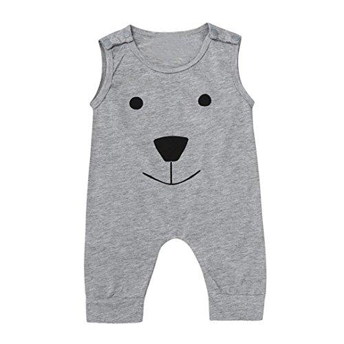 Blume Ruffle Pant (Xshuai NKleinkind Baby Mädchen Jungen stilvolle Bär Jumpsuit Spielanzug Spielanzug Kleidung (24 Mona5, Grau))
