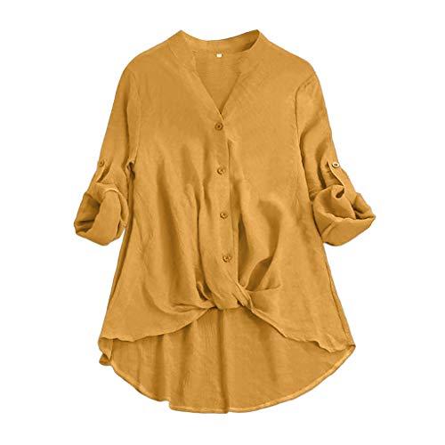IMJONO Bluse Damen elegant,Frauen Baumwolle Leinen Lässige Feste Lange Kurzarm T Shirt Bluse Button Down ()