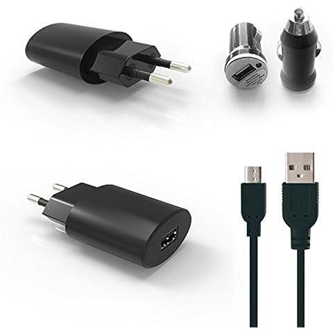 HubLines® originale - rapido caricatore e auto Micro USB qualità incluso cavo micro USB -. Adattatore di alimentazione CA del caricatore della spina di viaggio carica parte Carcharger 2.1A nero - hublines