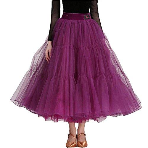 OOARGE Damen Moderne Ballsaal Waltz Tanzen Röcke Party Latin Dancing Long Swing Röcke , purple , (Dance Kostüme Social)