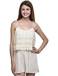 One Femme Women's Noodle Strap Crochet Short Cotton Jumpsuit / Romper