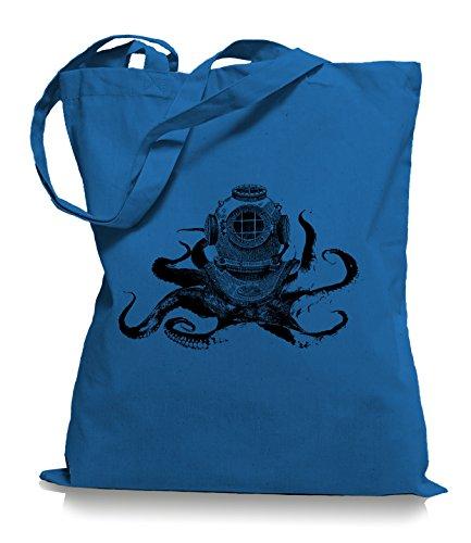 Ma2ca® Octopus Diver - Jutebeutel Stoffbeutel Tragetasche / Bag WM101 Cornflower Blue