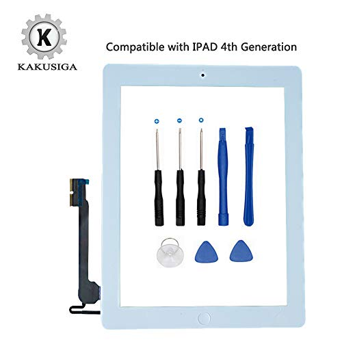 ir (5. Generation) Ersatz Touch Screen Glas Digitizer, Home Button Flex, Klebeband, Displayschutzfolie und Repair Tools Kit weiß iPad 4 White ()