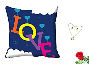 meSleep Blue Love Valentine Digital Printed Cushion Cover With Free Artificial Rose and Pendant Set