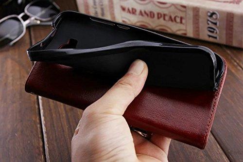 Für Gionee M6 Plus Case, Solid Color TPU / PU Leder Tasche Folio Flip Stand Brieftasche Case Cover mit 2 Karten Slot & 1 Cash Slot ( Color : Brown ) Blue