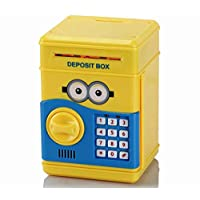 Minions Style Money Safe ATM Secret Password Enabled Piggy Bank,Yellow