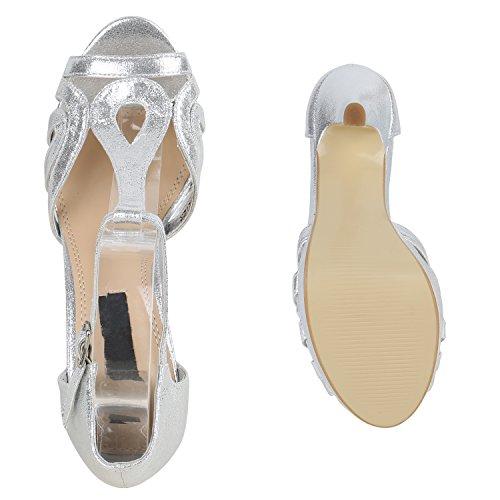 Damen Sandaletten Glitzer Metallic High Heels Plateausandaletten Silber
