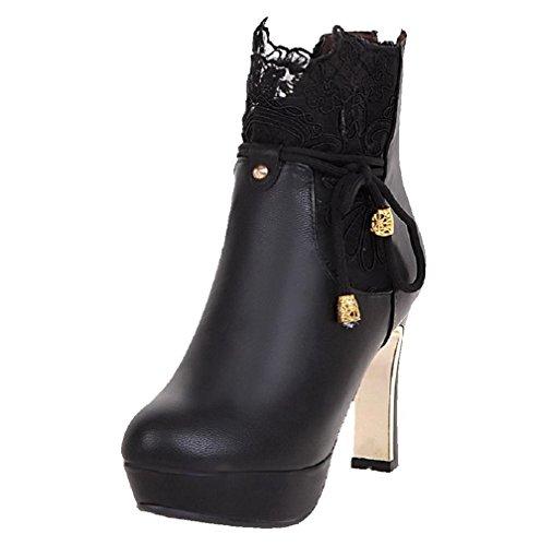 AllhqFashion Damen Weiches Material Niedrig-Spitze Reißverschluss Stiletto Stiefel, Rot, 34