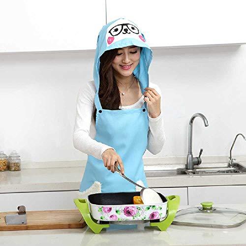 feixiangge Süße Schafe Küche staubdichte ölsichere Haarpflege mit Kappe Schürze Set 97 * 65cm/ azuré - Haarpflege Essen