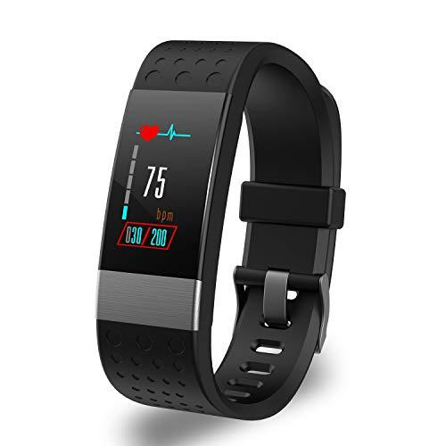 YoYoFit Fitness Trackers Pulsmesser, Rock Wasserdicht IP67 Activity Tracker Armbanduhr Blutdruck, Pulsuhren Smart Watch Uhr Fitness Armband Schrittzähler mit Schlafmonitor Kalorienzähler,Schwarz