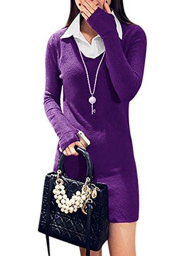 Frauen Spitze langen Ärmeln, Kragen 2 Knopf geschlossen Knit Etuikleid Violett - Violett