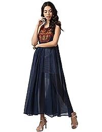 Ritu Kumar Women's Cotton Dress(LDRVC.GGT35N16470519__Blue)