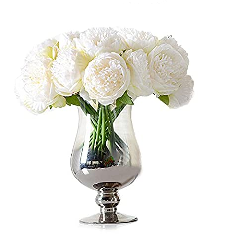 Butterme Artificial Silk 5 Heads Peony Flower Bouquet Arrangements Wedding Bouquets for Bride Home Office Garden Floor Vase Filler Table Centerpieces Decorations (Milk