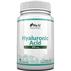 Ácido Hialurónico 300 mg   90 Cápsulas (Suministro Para 3 Meses)   Tres Veces más Concentrado que Muchas Marcas, por Nu U Nutrition