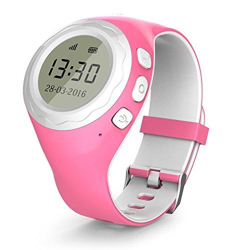 Lokato Kidswatch - Kinder GPS Telefon-Uhr, SOS Smartwatch mit Ortung, Tracker & Phone - Tracking App, Deutsche Software, Pink, inkl. SIM-Karte